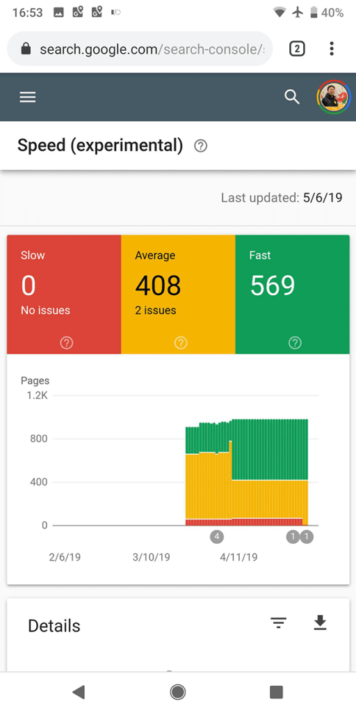 google speed report mobile